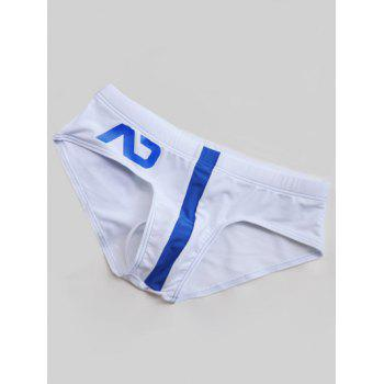 Color Block Printed Swimming Briefs - WHITE WHITE