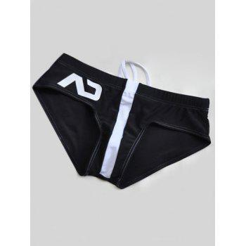 Color Block Printed Natation Briefs - Noir 2XL