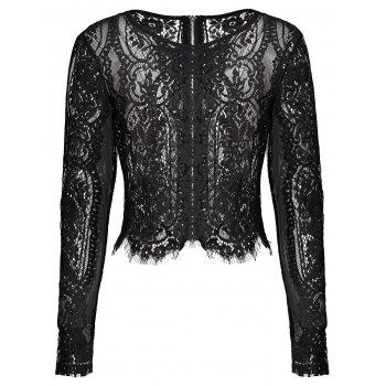 Semi Sheer Fringed Lace Crop Top