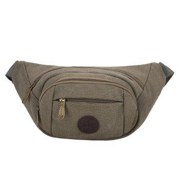 Multifunction Canvas Waist Bag - GREEN GREY GREEN GREY