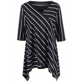 Plus Size Striped Asymmetrical Longline T-Shirt