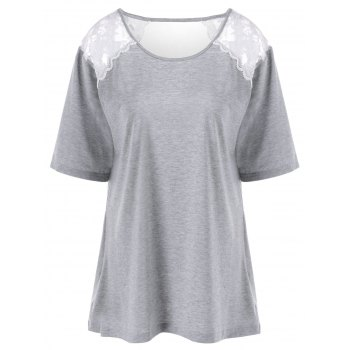Plus Size Lace Trim Cut Out T-Shirt