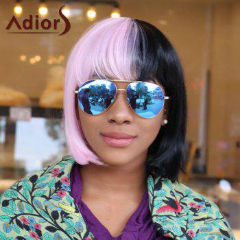 Adiors Short Two Tone Panel Full Bang Synthetic Cosplay Melanie Martinez Wig