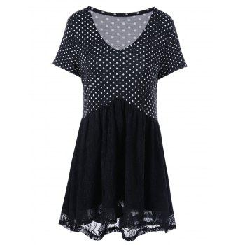 Plus Size Polka Dot Lace Trim T-Shirt