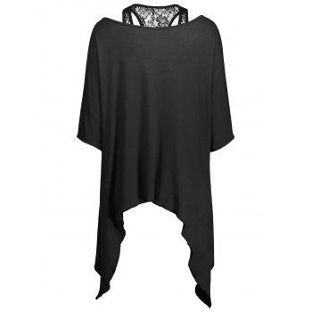 Handkerchief Batwing T-Shirt with Lace Tank Top - BLACK BLACK
