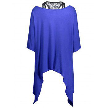Handkerchief Batwing T-Shirt with Lace Tank Top - BLUE BLUE