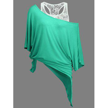 Handkerchief Batwing T-Shirt with Lace Tank Top