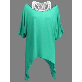 Handkerchief Batwing T-Shirt with Lace Tank Top - LIGHT GREEN M