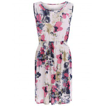 Oil Painting Floral Stretch Waist Sundress