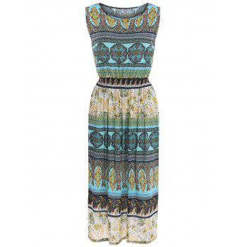 Sleeveless Bohemia Paisley Print Maxi Dress