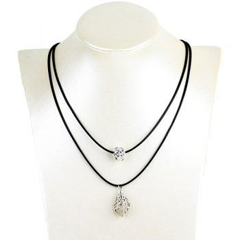 Rhinestone Hollow Out Leaf Ball Pendant Necklace