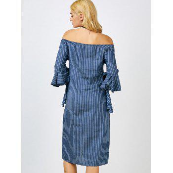 Off The Shoulder Striped Midi Dress - BLUE BLUE