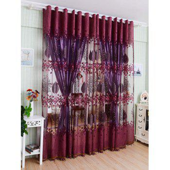Leaf Embroidery Fabric Sheer Tulle Curtain For Living Room - PURPLISH RED 100*250CM