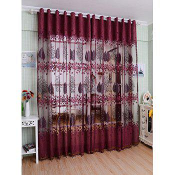 Leaf Embroidery Fabric Sheer Tulle Curtain For Living Room
