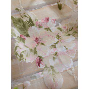 Flower Sheer Fabric Tulle Curtain with Beads Pendant - 100*250CM 100*250CM