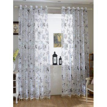 Flower Sheer Fabric Tulle Curtain with Beads Pendant