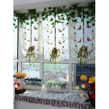 Window Decor Roman Pastoral Style Sheer Tulle Curtain - GREEN 80*100CM