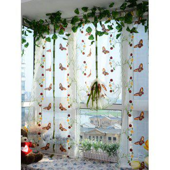 Window Decor Roman Pastoral Style Sheer Tulle Curtain - GREEN 80*200CM