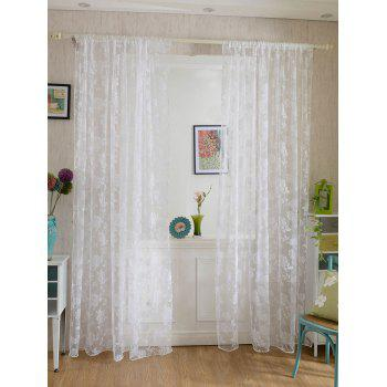2 Panels Rose Embroidery Window Sheer Tulle Fabric Curtain