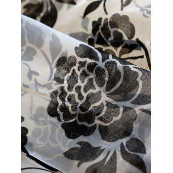 2 Panels Rose Embroidery Window Sheer Tulle Fabric Curtain - BLACK 100*200CM (2PCS/SET)