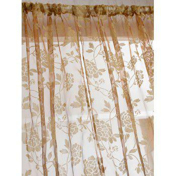 2 Panels Rose Embroidery Window Sheer Tulle Fabric Curtain - LIGHT COFFEE 100*200CM(2PCS/SET)