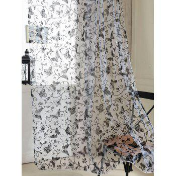 2Pcs/Set Butterflies Embroidery Window Sheer Tulle Curtain - BLACK 100*200CM(2PCS/SET)