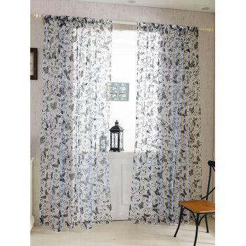 2Pcs/Set Butterflies Embroidery Window Sheer Tulle Curtain