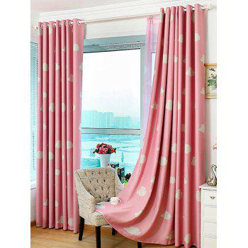 Cloud Printed Window Screen Blackout Curtain For Kids Room - PINK 100*200CM