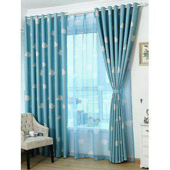 Cloud Printed Window Screen Blackout Curtain For Kids Room