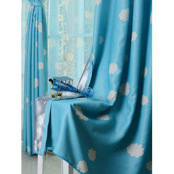 Cloud Printed Window Screen Blackout Curtain For Kids Room - BLUE 100*200CM