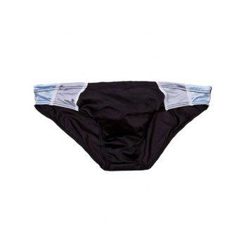 Drawstring Waist Panel Swimming Briefs - BLACK L