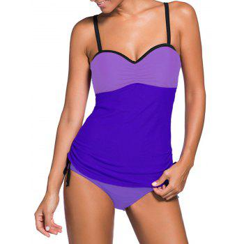 Underwire Padded Color Block Push Up Tankini Swimsuit
