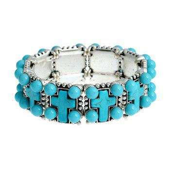 Artificial Turquoise Crucifix Beads Bracelet