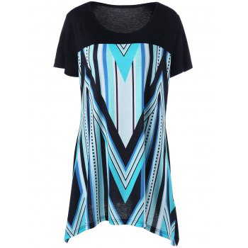 Plus Size Zigzag and Striped Longline T-Shirt