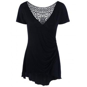 Cutwork Crochet Trim Surplice T-Shirt