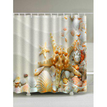 Sandy Beach Starfish Waterproof Shower Curtain