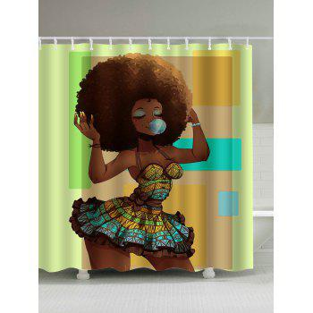 Afro Hair Cute Girl Waterproof Shower Curtain