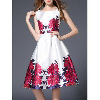 Sleeveless High Waist Floral Print Flare Dress