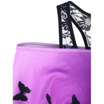 Skew Collar Racerback Butterfly Print T-Shirt - BLACK/PURPLE 2XL