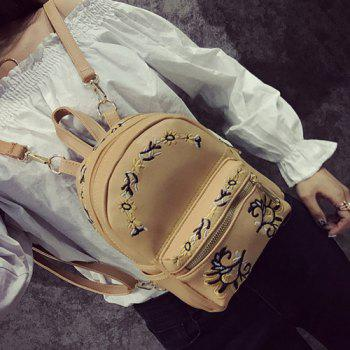 Flower Embroidered Faux Leather Backpack