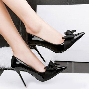 Bow Mini Heel Pumps - BLACK 37