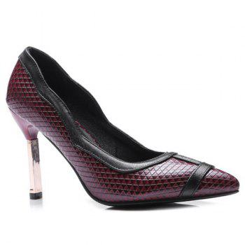 Faux Leather Geometric Pattern Pumps