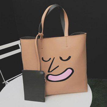 Cartoon Face Printed Shoulder Bag with Pouch Bag