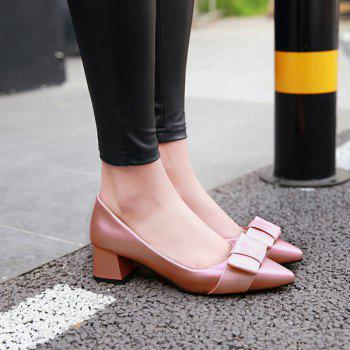 Block Heel Pointy Pumps - PINK 37