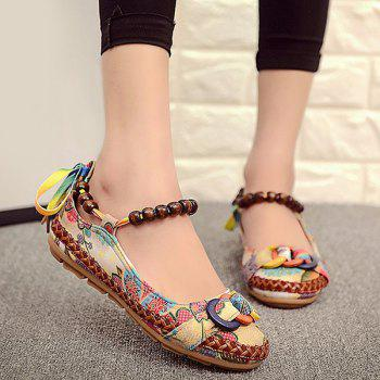 Weaving Floral Print Flat Shoes