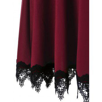 Lace Insert Party Skater Dress - WINE RED WINE RED