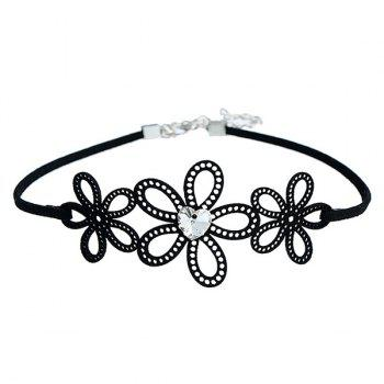 Hollow Out Flowers Heart Rhinestone Choker Necklace