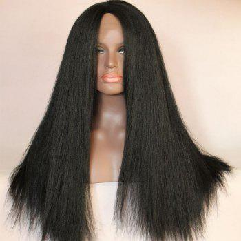 Long Middle Part Yaki Straight Lace Front Synthetic Wig - BLACK