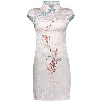 Cap Sleeve Cheongsam with Wintersweet Embroidery