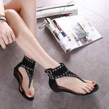 Double Buckle Strap Eyelets Sandals - BLACK 39